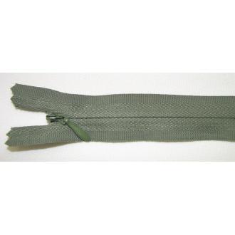 Zips krytý nedeliteľný Bavlnený 20cm tmavá zelená