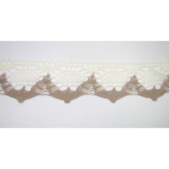 Krajka bavlna smotanová s lemom 4,5cm