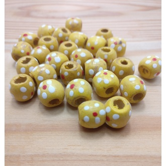 Korálky drevené maľované 13 mm - (28ks)