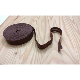 Šikmý prúžok zažehlený Bavlna 20mm - Tm. hnedá