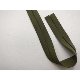 Šikmý prúžok bavlna zažehlený 20mm - Vojenská zelená