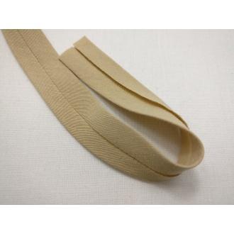 Šikmý prúžok bavlna zažehlený 20mm - Hnedá