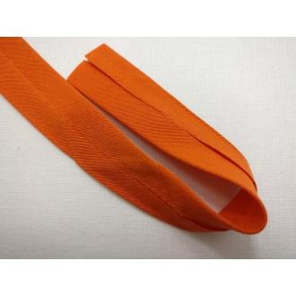 Šikmý prúžok bavlna zažehlený 20mm - Oranžový