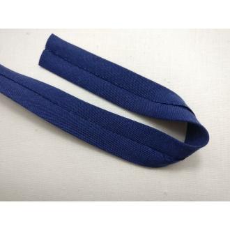 Šikmý prúžok bavlna zažehlený 20mm - Tm. modrá