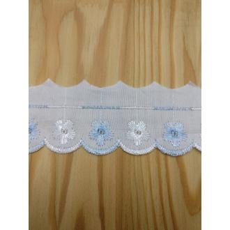 Madeira vyšívaná 5cm - Bielo modrá
