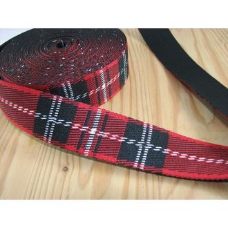 Popruh červené káro 3,5cm