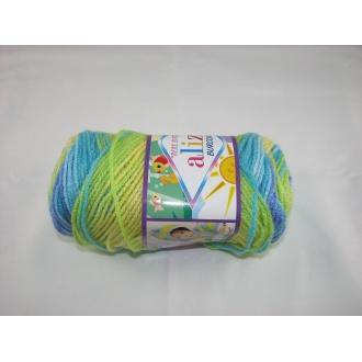 Alize Bebe Burcum batik 100g- 4789 žlto modrý melír