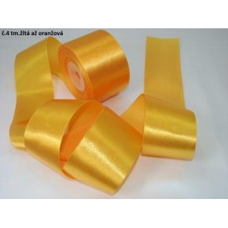 Stuha saténová  šírka 50mm-tm.žltá až oranžová