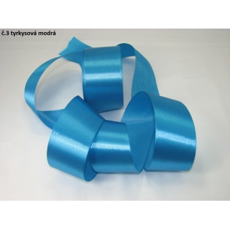Stuha saténová  šírka 50mm - tyrkysová modrá