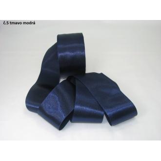 Stuha saténová  šírka 50mm - tmavo modrá