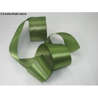 Stuha saténová  šírka 50mm -sv.khaki zelená