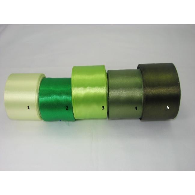 Stuha saténová  šírka 50mm - tm.khaki zelená