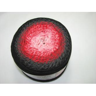 YarnArt Flowers 250g - 282 čierno červený melír