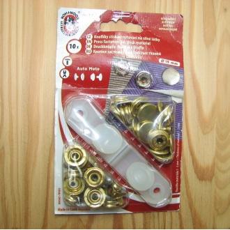 Nitovacie gombíky Auto moto - 15mm zlatá