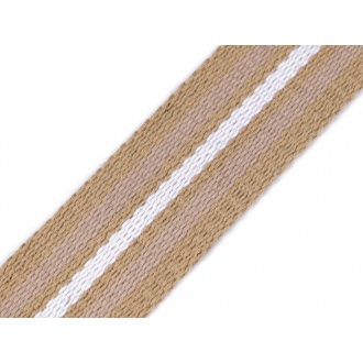 Popruh béžový s bielym pruhom 3,8cm