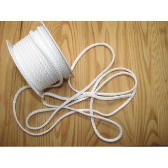 Šnúra bavlna odevná,Ø 5,3mm biela
