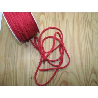 Šnúra bavlna odevná,Ø 5,3mm,červená