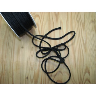 Šnúra bavlna odevná,Ø 5,3mm,čierna