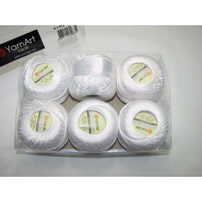Kordonet lesklý TULIP 50g - 401 biela
