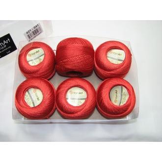 Kordonet lesklý TULIP 50g - 421 červená