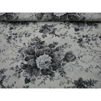 Dekoračná bavlna čierno biele ruže