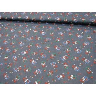 Modrý podklad mix kvetov š.145cm