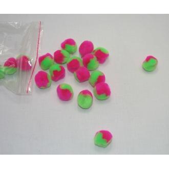 Brmbolčeková plyšová sada dvojfarebná ružovo zelená