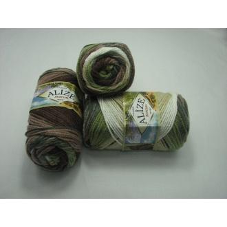Alize - Burcum batik 100g farba 1893 zeleno hnedá