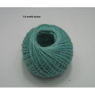 Jutový špagát ø2 mm- sv.tyrkysová
