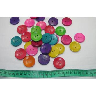 Drevený gombík lakovaný  farebný
