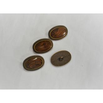 Ozdobný kovový gombík / 1,3x1,8cm