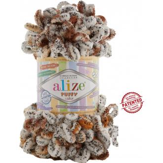 Alize Puffy Color - 7503 Žíhaná smotanová s hnedou