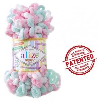 Alize Puffy Color - 6052 Melír bielo ružovo mentolový