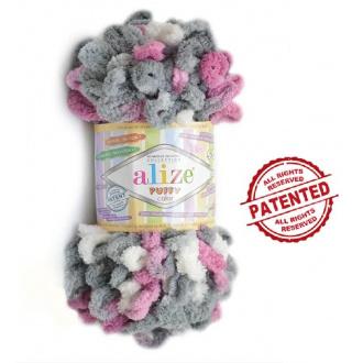 Alize Puffy Color - 6070 Melír ružovo šedo biela