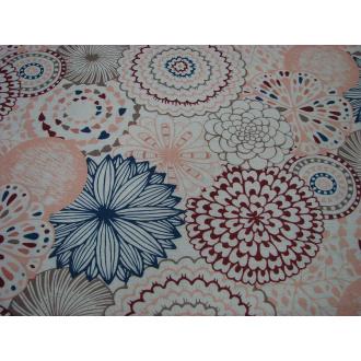 Dekoračná bavlna š.140 cm, modro oranž.červený odtieň