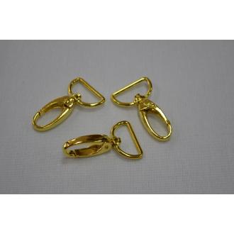 Kovová karabínka 25mm priemer zlatá