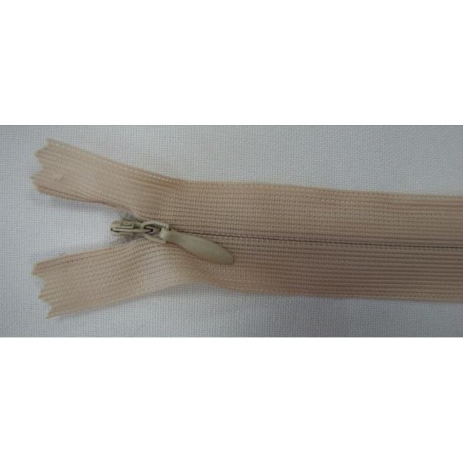 Zips krytý nedeliteľný 16cm béžový