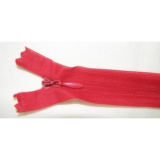 Zips krytý nedeliteľný 18cm červený