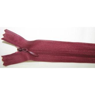 Zips krytý nedeliteľný 18cm tmavo bordový