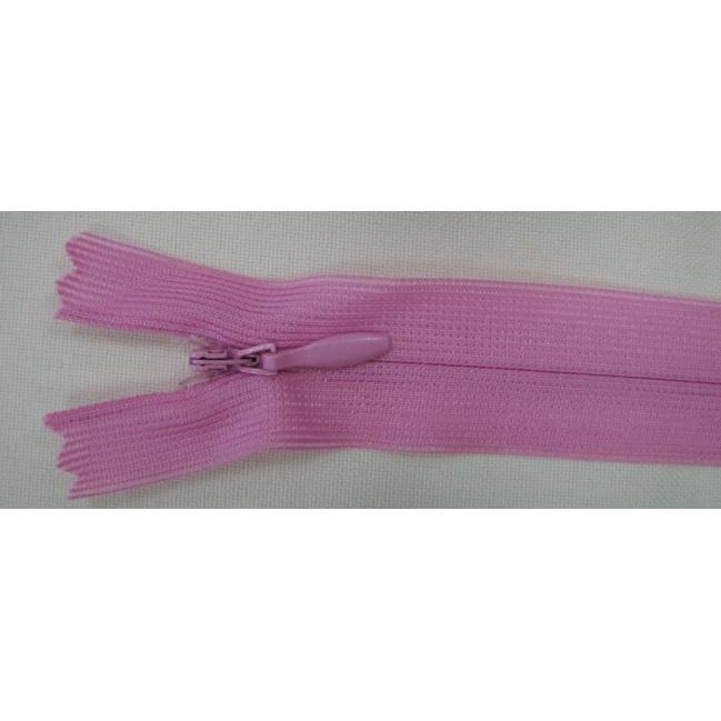 Zips krytý nedeliteľný 18cm ružový