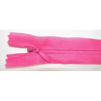 Zips krytý nedeliteľný 18cm cyklamenový