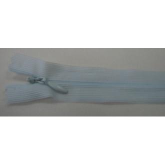 Zips krytý nedeliteľný 18cm bledučko modrý