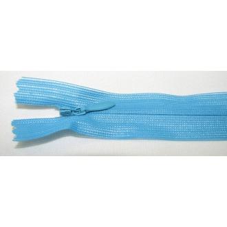 Zips krytý nedeliteľný 18cm tyrkys