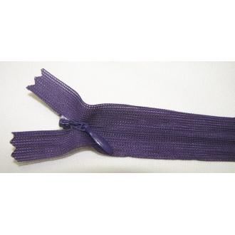 Zips krytý nedeliteľný 18cm tmavo fialový