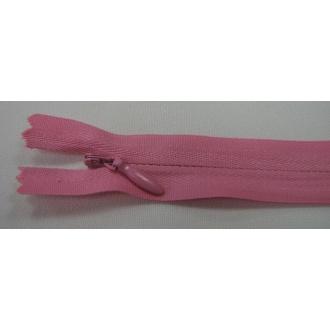 Zips krytý nedeliteľný Bavlnený 18cm ružová