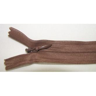Zips krytý nedeliteľný 20cm hnedá