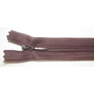Zips krytý nedeliteľný 20cm tmavá hnedá