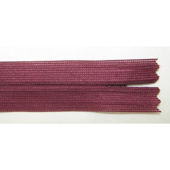 Zips krytý nedeliteľný 20cm bordová
