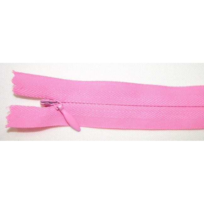 Zips krytý nedeliteľný Bavlnený 20cm ružová