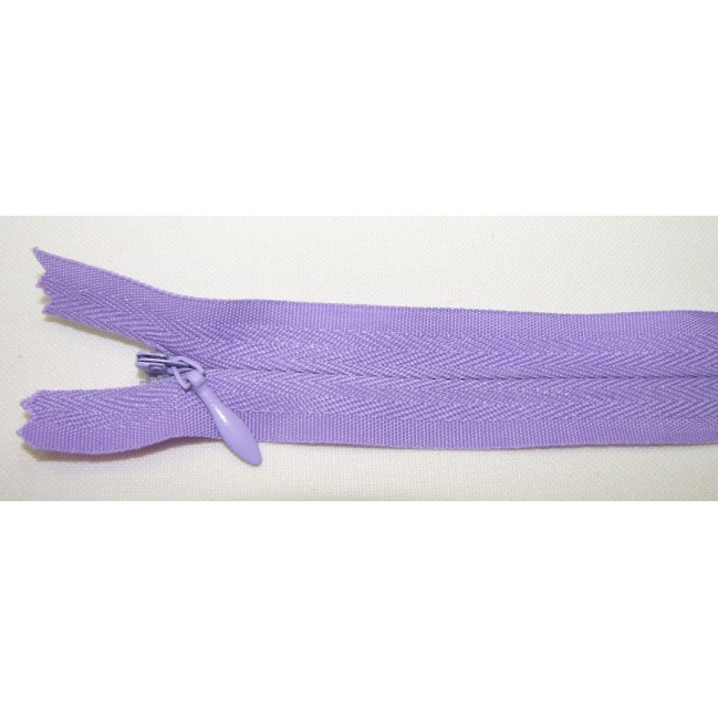 Zips krytý nedeliteľný Bavlnený 20cm fialová